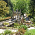Majestic view with beautiful garden in ornate palace Regaleira (Sintra,Portugal)